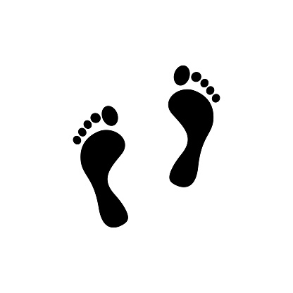 Foot print icon for medical design. Modern design vector