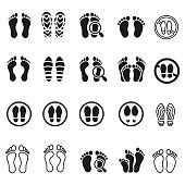 Foot print icon set