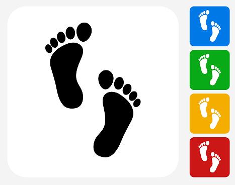 Foot Prints Icon Flat Graphic Design