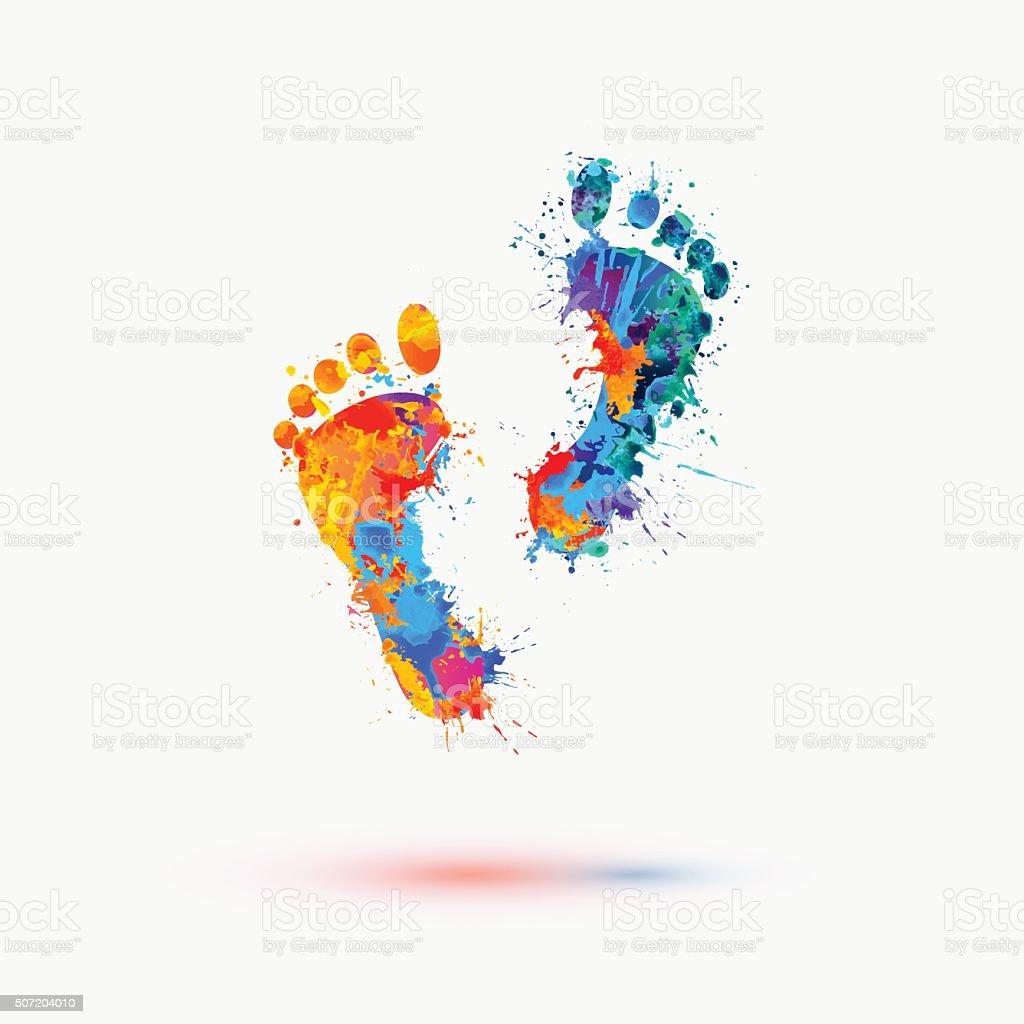 Foot prints. Vector watercolor illustration