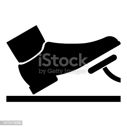 istock Foot pushing the pedal gas pedal brake pedal auto service concept icon black color illustration 1072415090