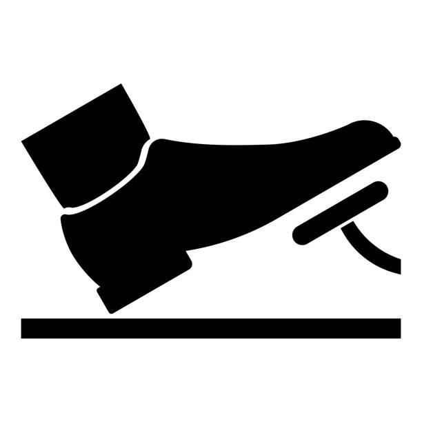 ilustrações de stock, clip art, desenhos animados e ícones de foot pushing the pedal gas pedal brake pedal auto service concept icon black color illustration - driveway, no people