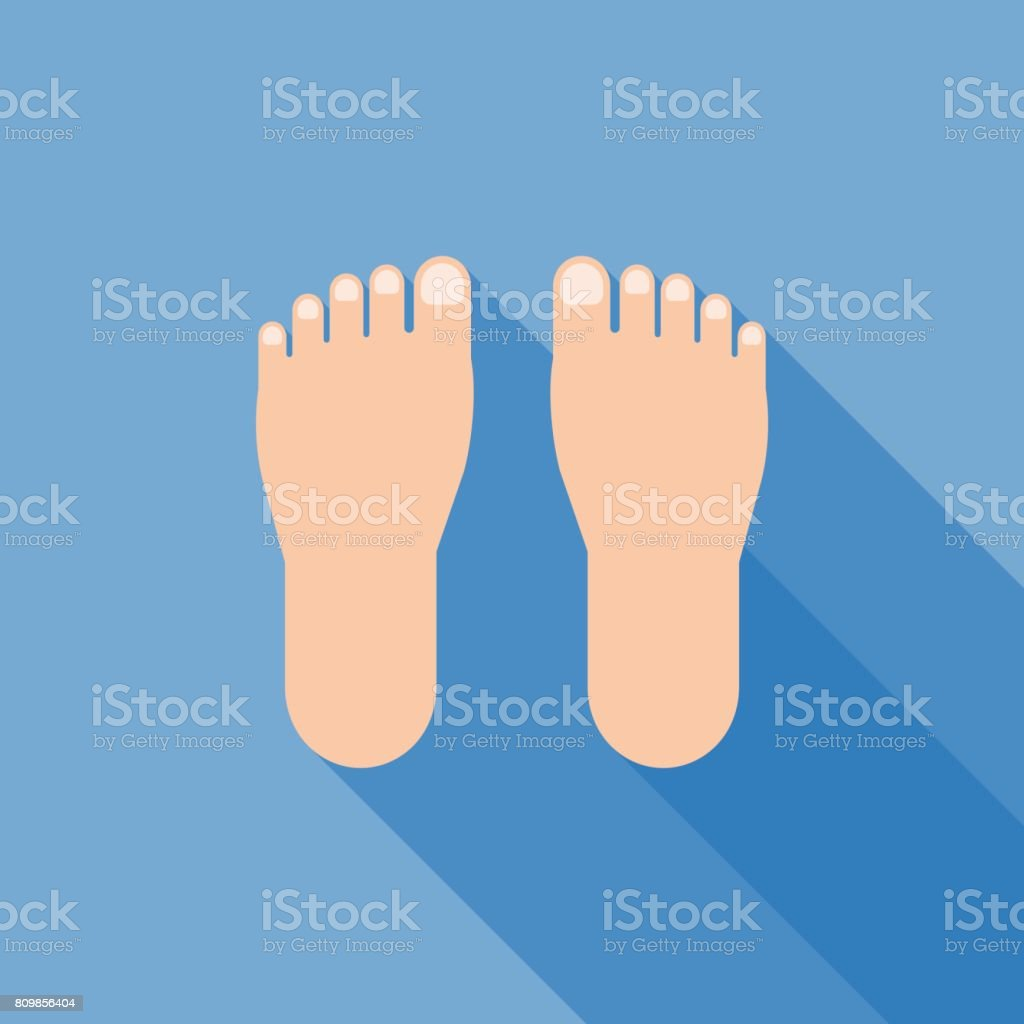 foot sign icon vector with long shadow vector art illustration