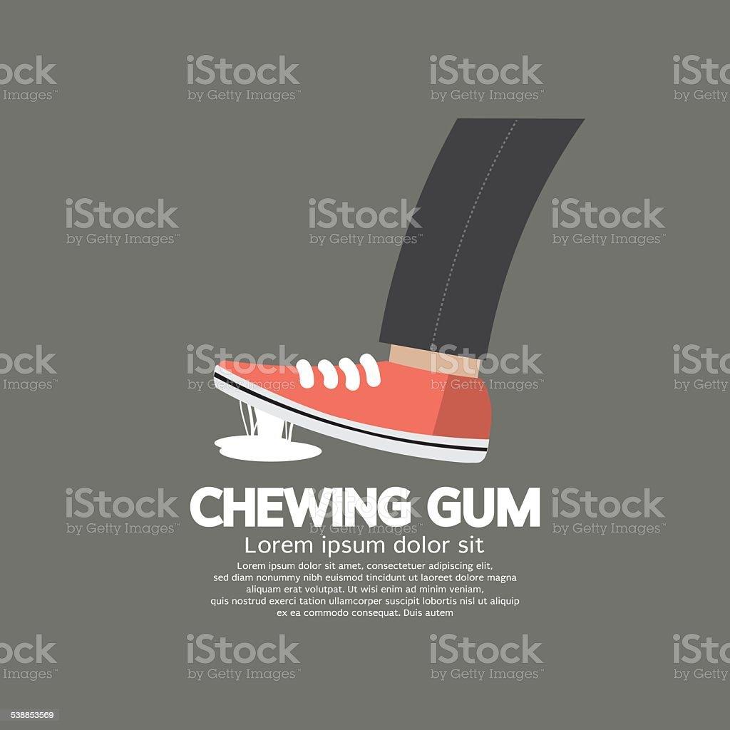Foot Stuck Into Chewing Gum On Street vector art illustration