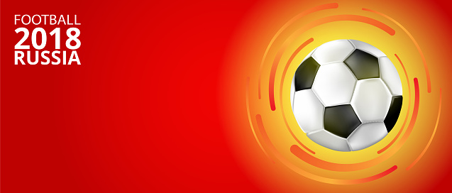 Football 2018 Russia background with soccer ball.