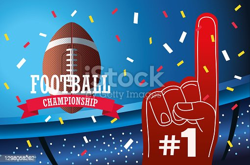 football american football sport lettering with balloon and glove in stadium