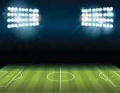 Football American Soccer Field Illuminated Illustration