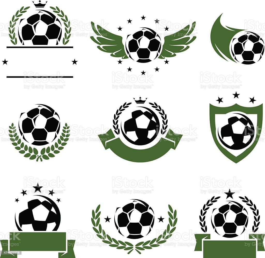 Collection football and soccer, edit size and color, icons, vector