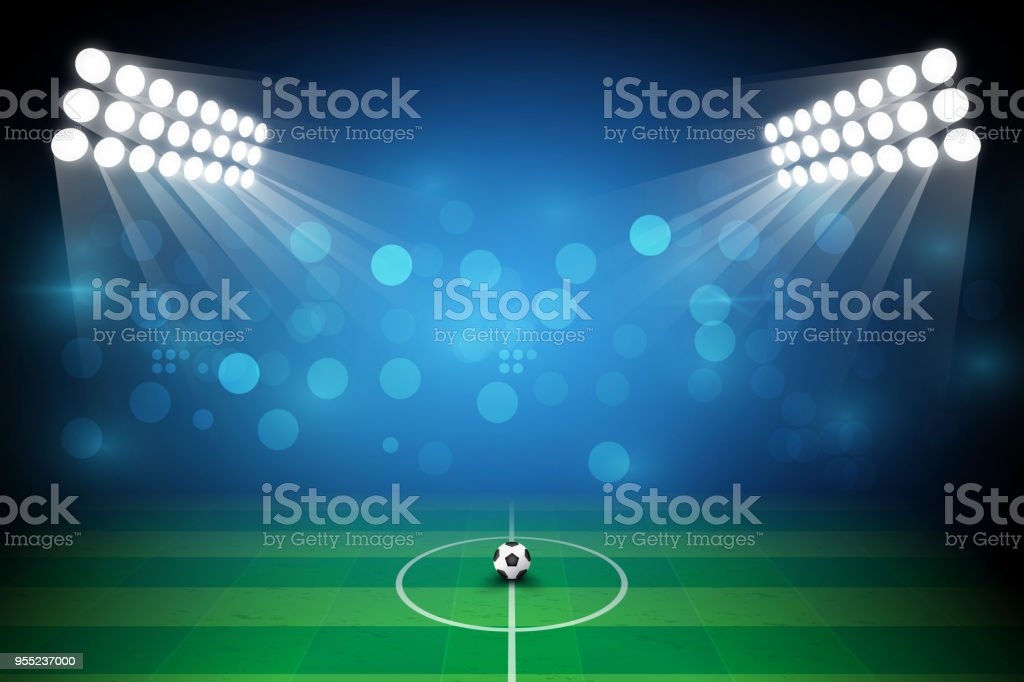 Football arena field with bright stadium lights design vector
