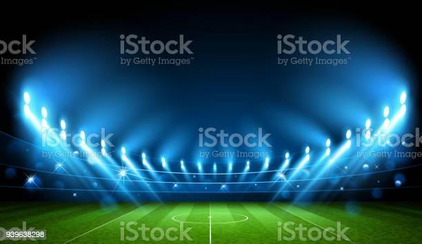 Voetbal Arena Stadion Vector Stockvectorkunst en meer beelden van Achtergrond - Thema