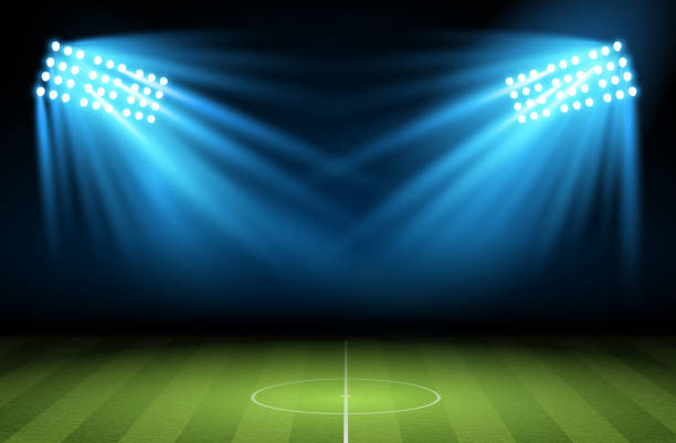 bildbanksillustrationer, clip art samt tecknat material och ikoner med football arena. vector - fotboll eld
