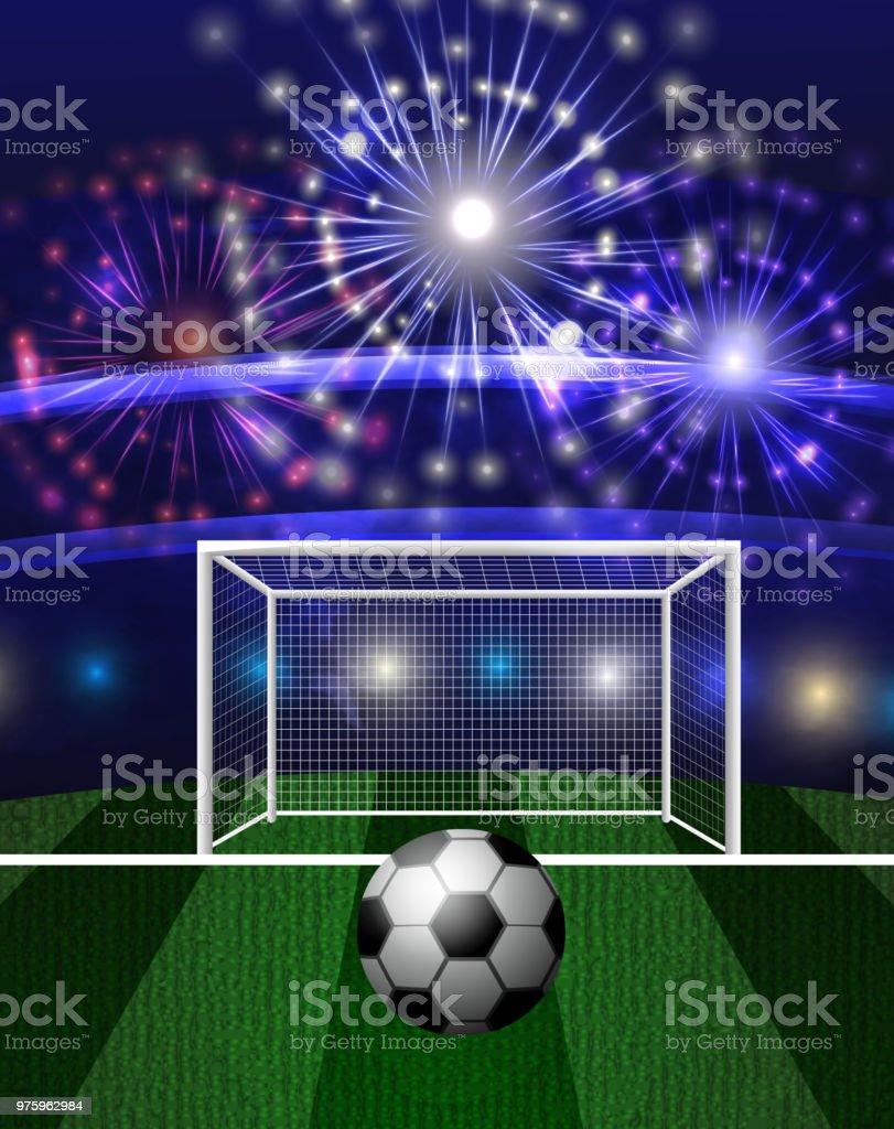 De Soccer Vecteurs Ballon Un Libres Droits Stade Football Avec ARjL354