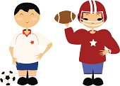 Futbol (Soccer) and American Football Players
