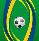 Illustration football background in Brazil flag concept - vector
