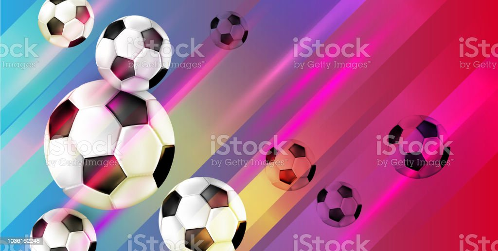 Fundo de futebol com bolas de futebol. - ilustração de arte em vetor