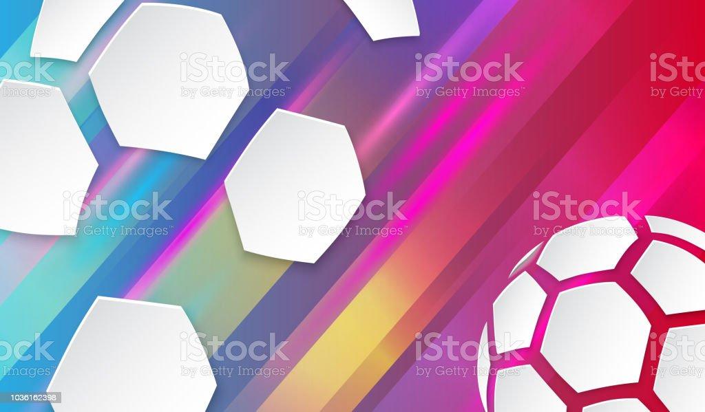 Fundo de futebol com bola de futebol branco. - ilustração de arte em vetor