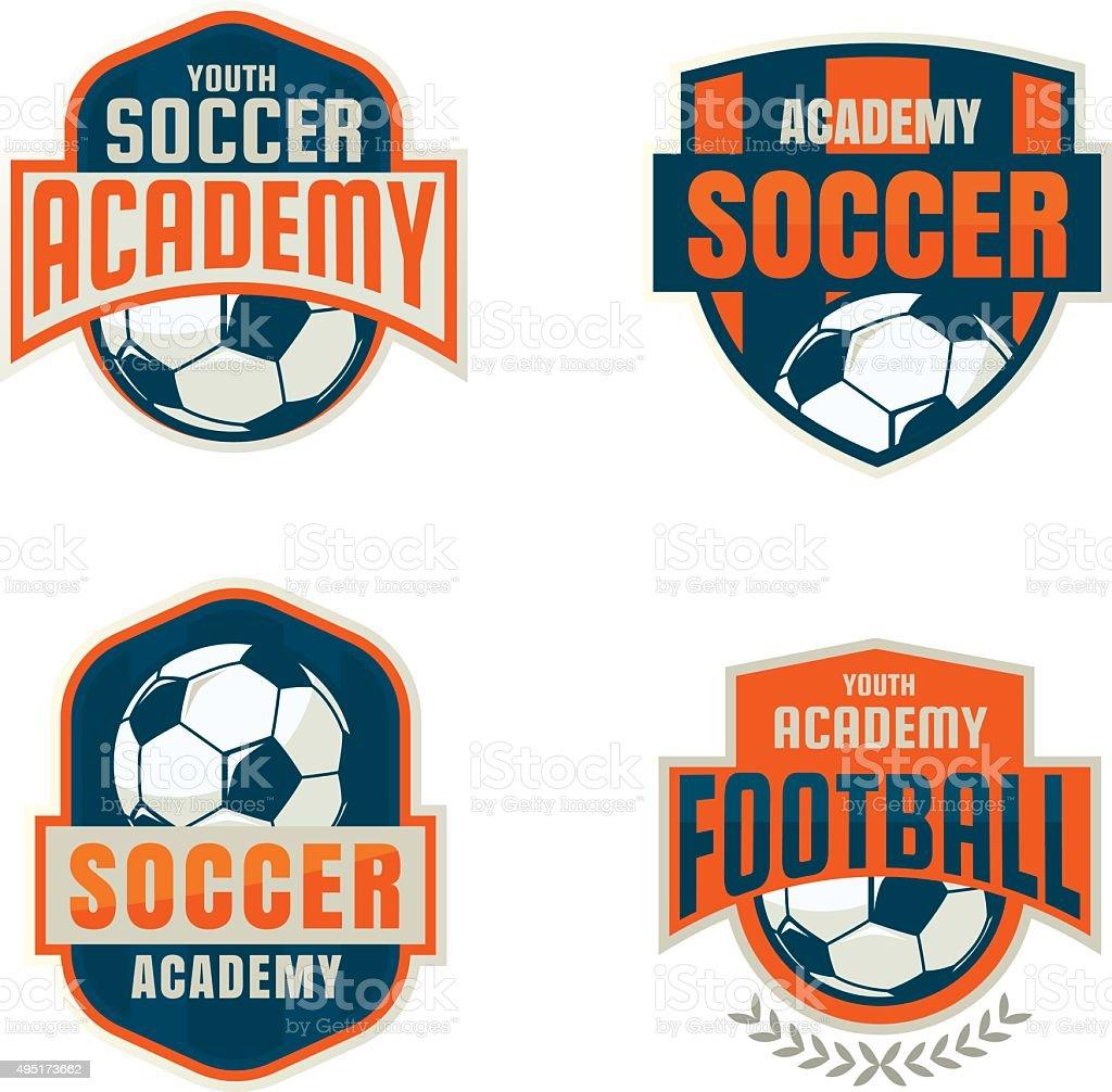 Fußball-Wappen-logo-Vorlage-Kollektion design, vecto soccer team – Vektorgrafik