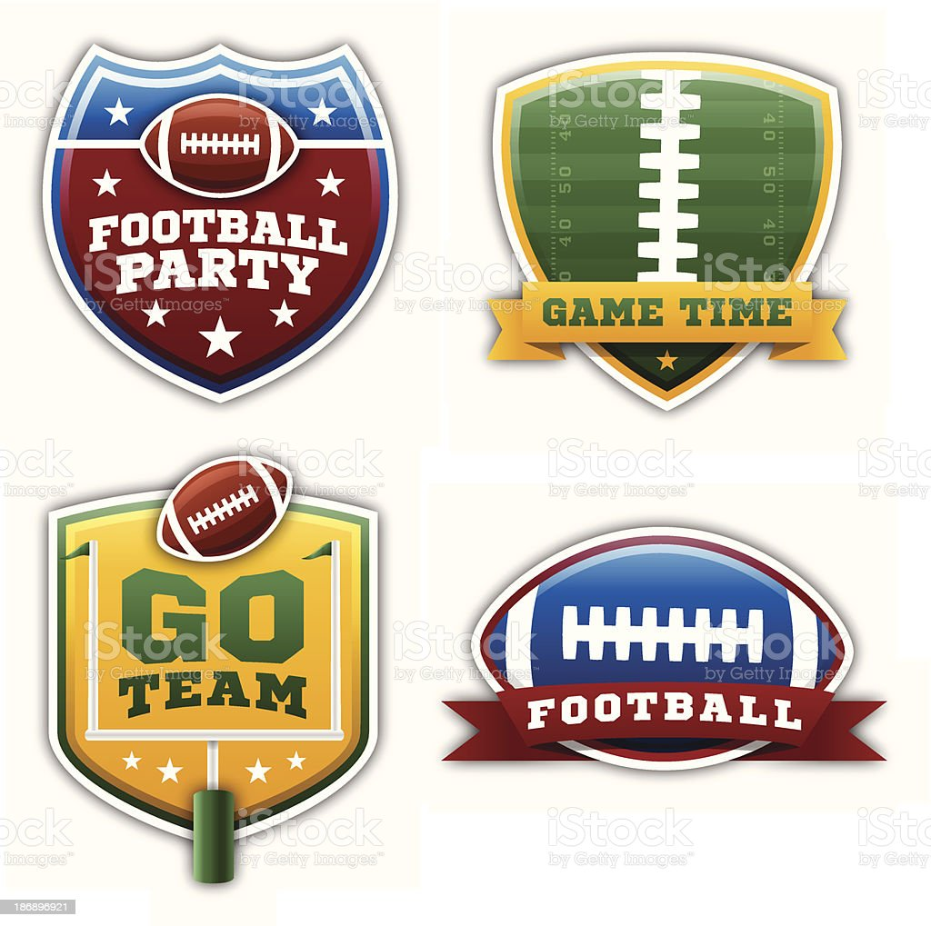 Football Badges and Elements vector art illustration