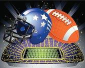 Football Ball, Helmet and Football Field Vector