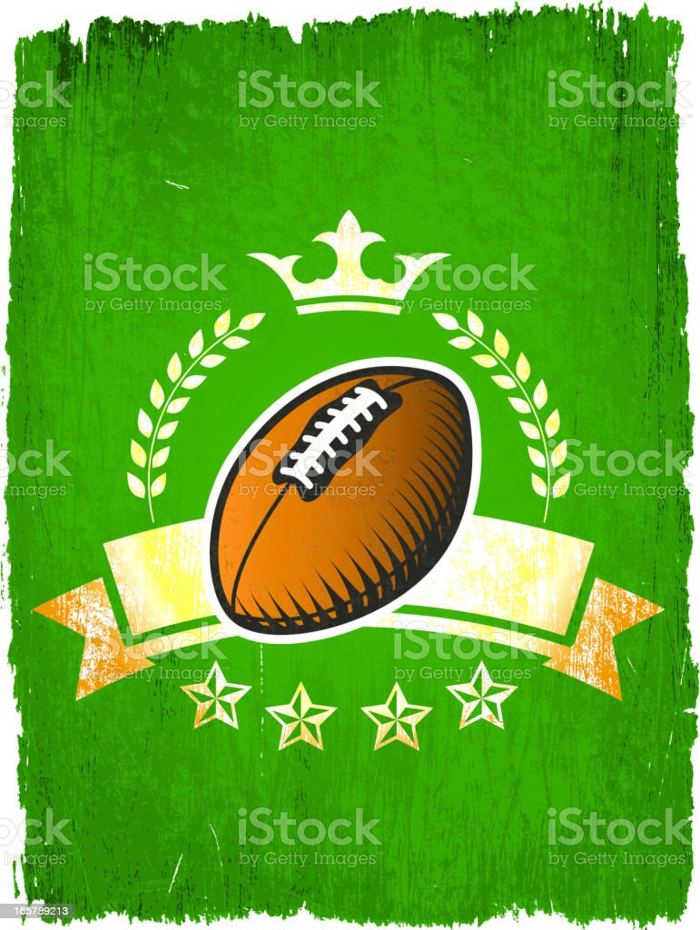 Football Ball on Grunge badges with banners royalty-free football ball on grunge badges with banners stock vector art & more images of american football - sport