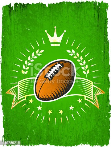 Football Ball on Grunge badges with banners