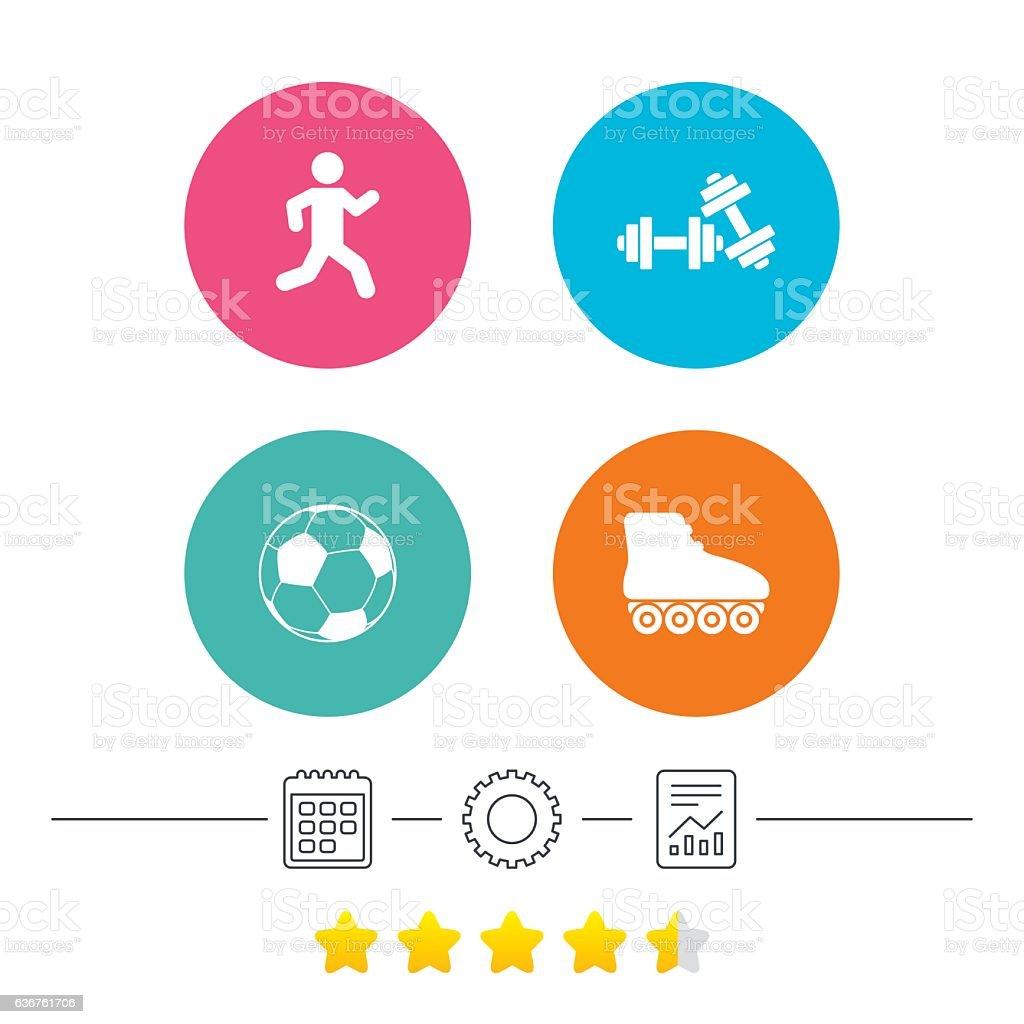 Fútbol de bola, de rodillo patines, iconos de atletismo. - ilustración de arte vectorial