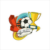 Retro banner. Soccer ball. Sports. Football design vector template
