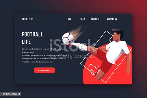 Football banner, soccer landing page vector illustration template