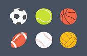 istock Football, basketball, baseball, tennis, volleyball, water polo balls. Hand drawn vector illustration 1282215909