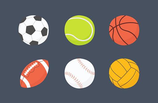Football, basketball, baseball, tennis, volleyball, water polo balls. Hand drawn vector illustration