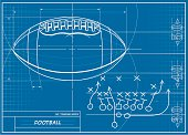 A vector illustration of a football blueprint.  Perfect for backgrounds.