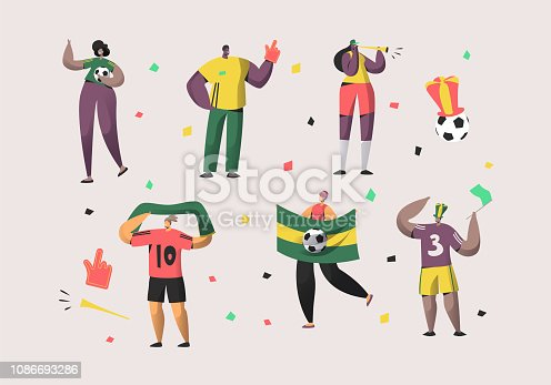 istock Football Brazil Fan Character Set Illustration. Happy Friend Team Celebrate Brazilian Soccer National Victory. Man Woman Crowd Hold Flag, Scarf Isolated Background Flat Cartoon Vector Collection 1086693286