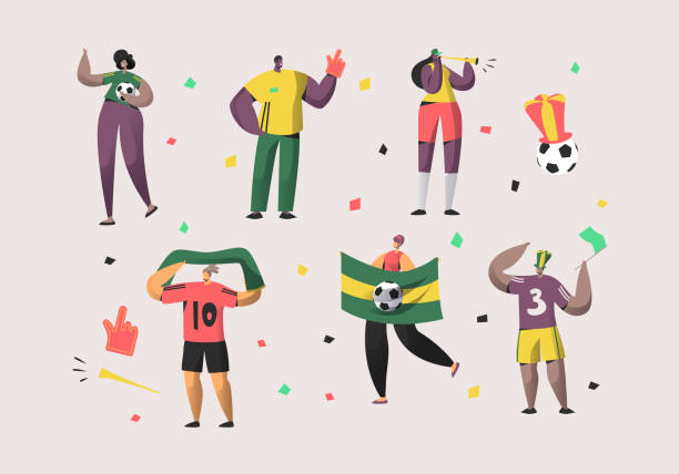 ilustrações de stock, clip art, desenhos animados e ícones de football brazil fan character set illustration. happy friend team celebrate brazilian soccer national victory. man woman crowd hold flag, scarf isolated background flat cartoon vector collection - adeptos