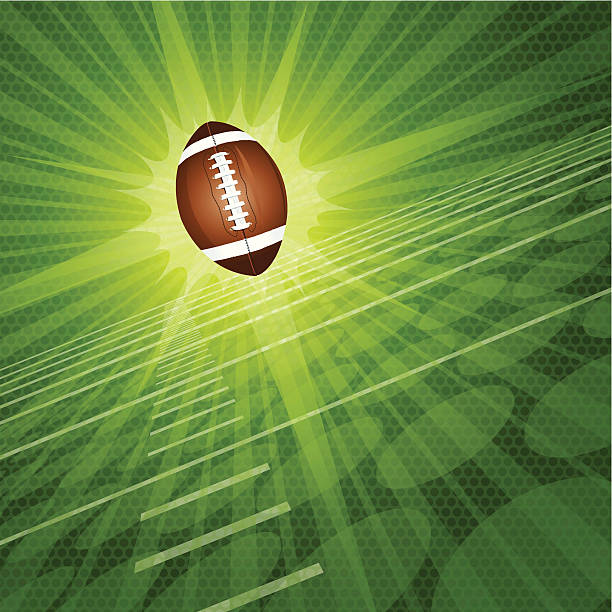 """Football Burst Background Graphic Graphic burst illustration of an American football and football field. Check out my """"American Football Vector"""" light box for more. american football league stock illustrations"""