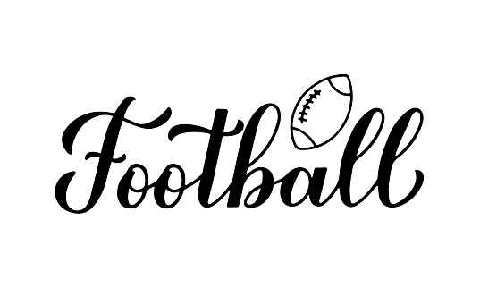 Football calligraphy hand lettering. Sport game typography poster. Vector template for banner, sticker, t-shirt