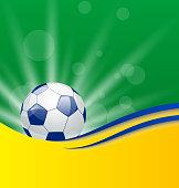 Illustration football card in Brazil flag colors - vector