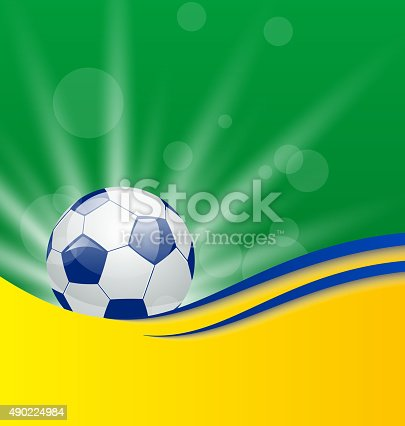 istock Football card in Brazil flag colors 490224984