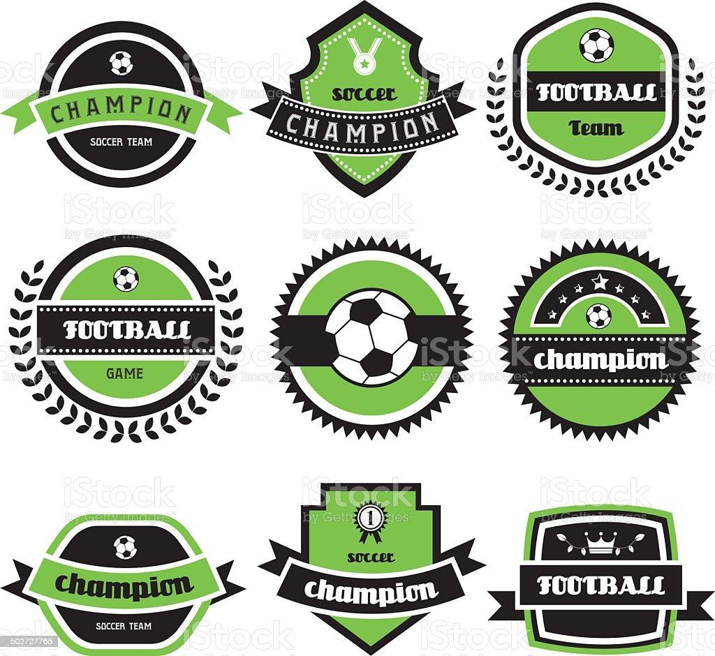 football champion  labels vector art illustration