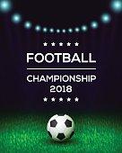 Football championship poster, flyer, banner template. Vector illustration