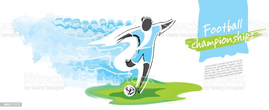 Vector del Campeonato de fútbol. Carácter de fútbol figurativo artístico. - ilustración de arte vectorial