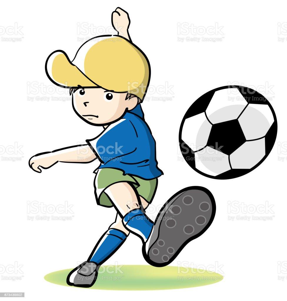 サッカーの子供撮影します。 ベクターアートイラスト