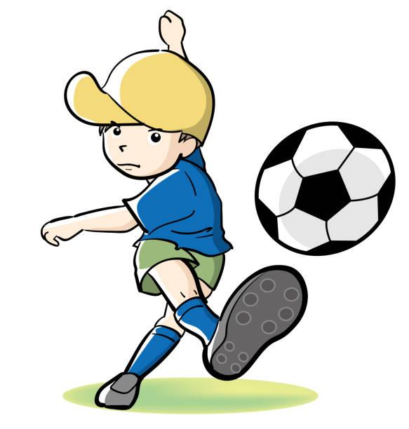 サッカーの子供撮影します。 - 漫画の子供たち点のイラスト素材/クリップアート素材/マンガ素材/アイコン素材