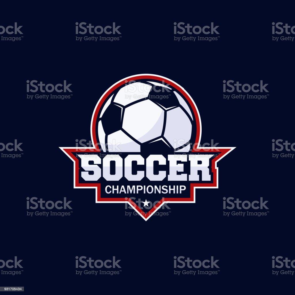 Fútbol club bagde, Campeonato de fútbol, torneo de fútbol. Plantilla de Vector icono - ilustración de arte vectorial