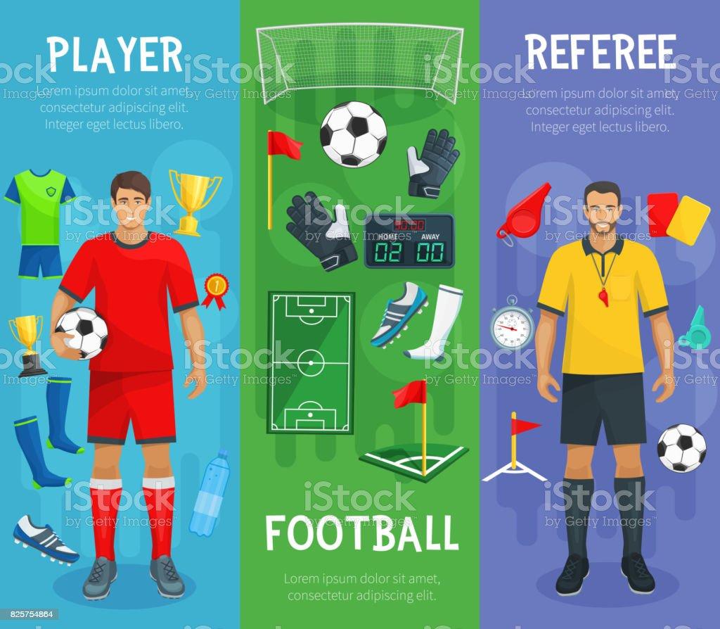 Football club vector banners of soccer sport game vector art illustration