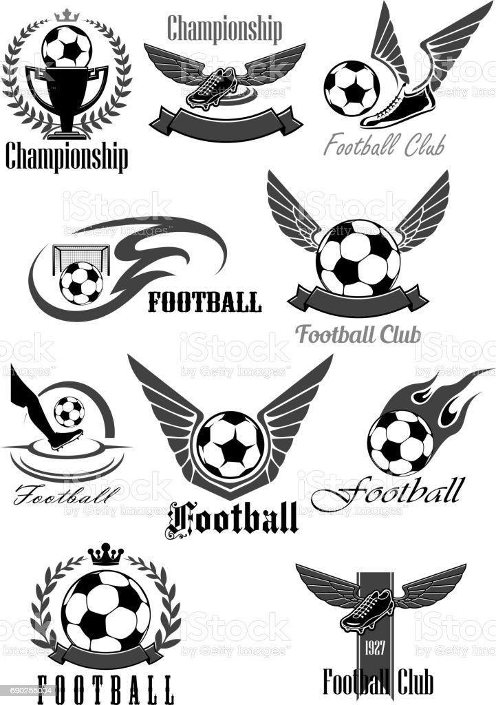 Football club vector icons for soccer championship vector art illustration
