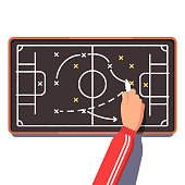 Football coach is planning a game drawing on board. Flat vector clipart illustration