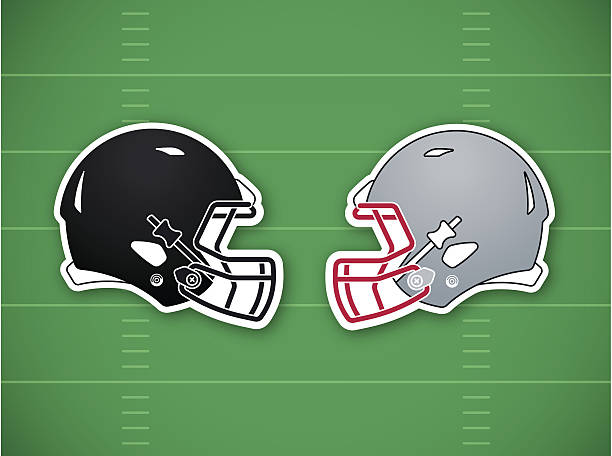 Football Competition Background Football competition background with helmets on a green field. EPS 10 file. Transparency effects used on highlight elements. football helmet stock illustrations