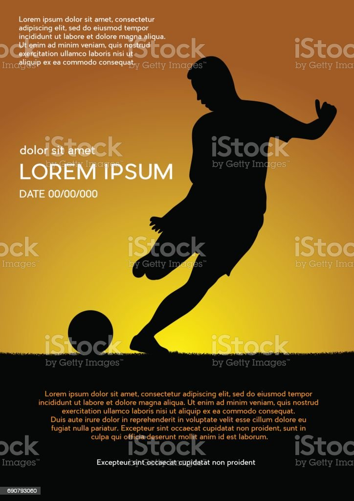 Football competition tournament, sunset background. Vector poster with man playing game and ball vector art illustration