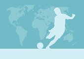 Football competition tournament. World map background. Vector poster with man playing game and ball