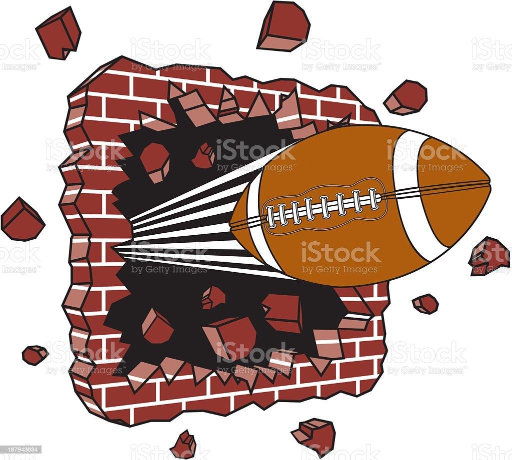 Football Crashing Through Brick Wall vector art illustration